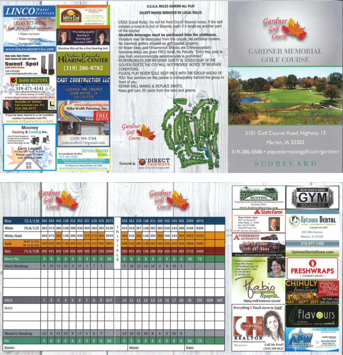 Hunters Ridge Scorecard: Gardner Golf Course, Marion, Iowa